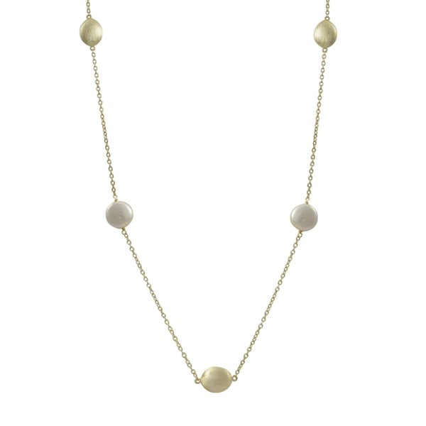 Brushed Gold Finish Freshwater Pearl Coin Necklace