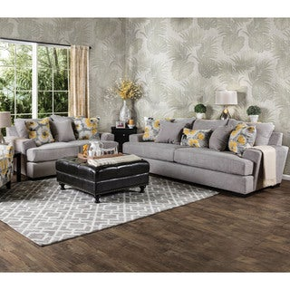 Furniture of America Audellie Contemporary 2-piece Grey Fabric Sofa Set