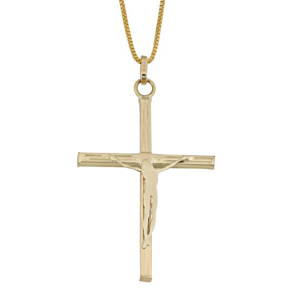 Fremada 10k Yellow Gold Crucifix on Complementary Gold Filled Chain Necklace (18 inch) 17097996