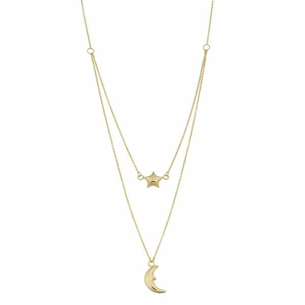 Fremada 10k Yellow Gold Moon and Star Layered Necklace