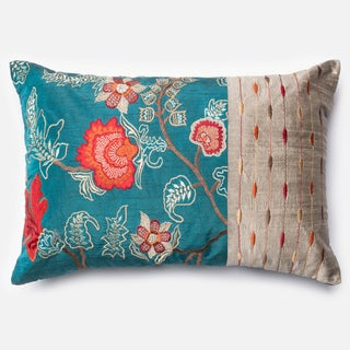 """Embroidered Floral Blue/ Red Down Feather or Polyester Filled Throw Pillow or Pillow Cover (13"""" x 21"""")"""