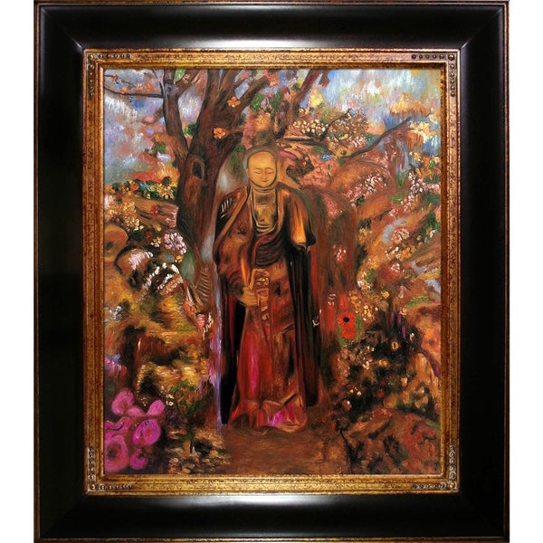 Odilon Redon 'Buddha Walking Among The Flowers' Hand Painted Framed Canvas Art