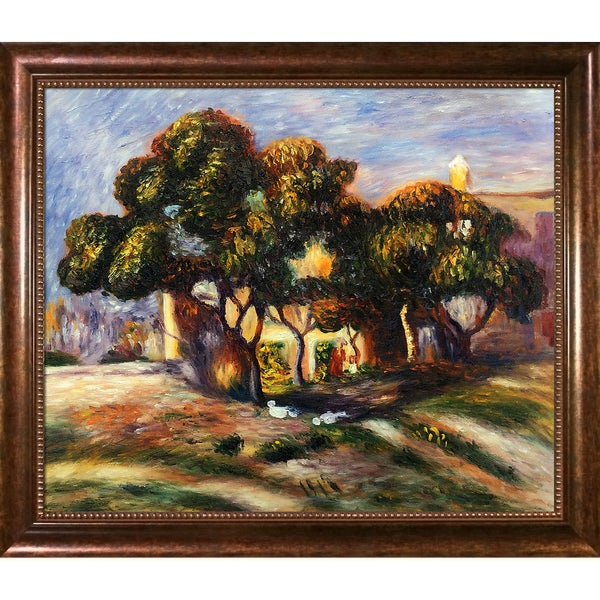 Pierre-Auguste Renoir 'Medlar Trees, Cagnes, 1908' Hand-painted Framed Canvas Art