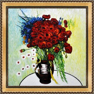 Vincent Van Gogh 'Vase with Daisies and Poppies' Hand-painted Framed Canvas Art