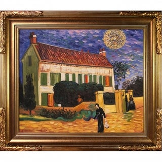 Vincent Van Gogh 'White House at Night' Hand-painted Framed Canvas Art