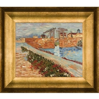 Vincent Van Gogh 'Langlois Bridge at Arles with Road Alongside the Canal' Hand-painted Framed Canvas Art