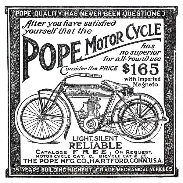 """Marmont Hill - """"Pope Motor Cycle"""" Painting Print on Canvas"""