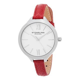 Stuhrling Original Women's Vogue Quartz Red Leather Strap Watch