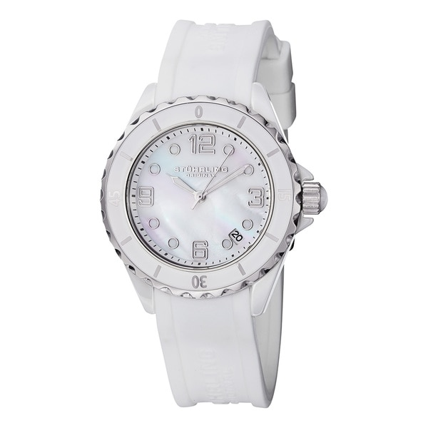 Stuhrling Original Women's Atlantis Ceramic Mother of Pearl White Rubber Strap Watch