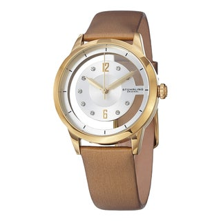 Stuhrling Original Women's Winchester Quartz Crystal Satin Twill Leather Strap Watch