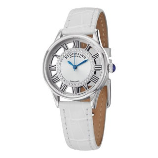 Stuhrling Original Women's Winchester Swiss Quartz Crystal White Leather Strap Watch