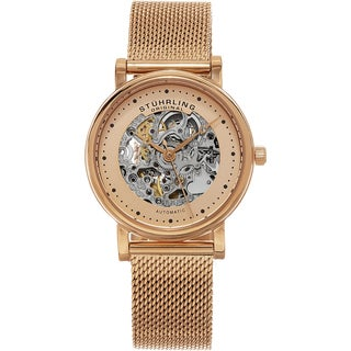 Stuhrling Original Women's Casatorra Automatic Skeleton Rose Tone Mesh Band Watch
