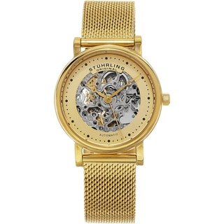 Stuhrling Original Women's Casatorra Automatic Skeleton Gold Tone Mesh Band Watch
