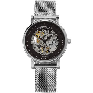 Stuhrling Original Women's Casatorra Automatic Skeleton Stainless Steel Mesh Band Watch