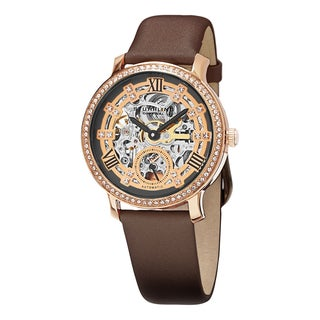 Stuhrling Original Women's Legacy Automatic Skeleton Crystal Satin Covered Leather Strap Watch