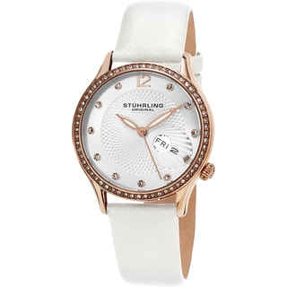 Stuhrling Original Women's Symphony Quartz Crystal White Satin Covered Leather Strap Watch