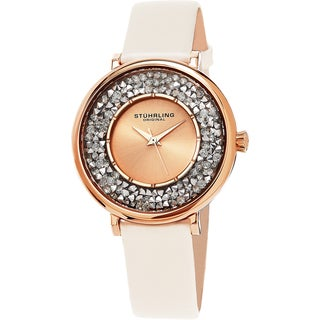 Stuhrling Original Women's Vogue Quartz Crystal Champagne Satin Covered Leather Strap Watch