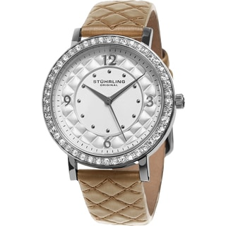 Stuhrling Original Women's Audrey Quartz Crystal Brown Quilted Leather Strap Watch