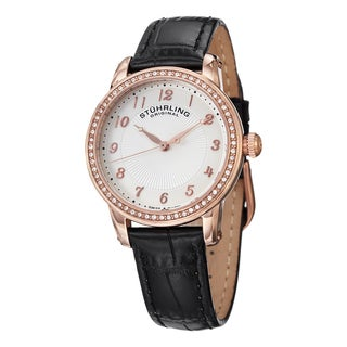 Stuhrling Original Women's Fusion Swiss Quartz Crystal Black Leather Strap Watch