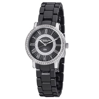 Stuhrling Original Women's Fusion Swiss Quartz Crystal Black Ceramic Bracelet Watch