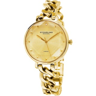 Stuhrling Original Women's Vogue Quartz Diamond Gold Tone Bracelet Watch