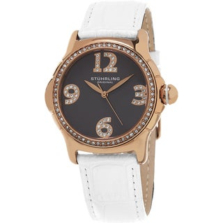 Stuhrling Original Women's Chic Quartz Crystal White Leather Strap Watch