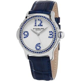 Stuhrling Original Women's Chic Quartz Crystal Blue Leather Strap Watch
