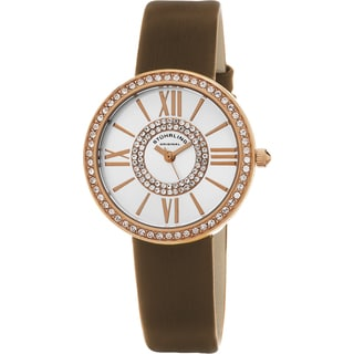 Stuhrling Original Women's Chic Quartz Crystal Brown Satin Twill Covered Leather Strap Watch