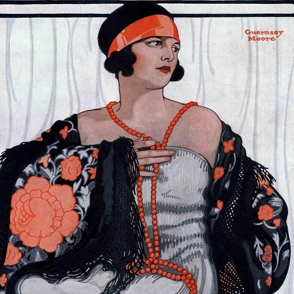 """Marmont Hill - """"Flapper in Shawl and Beads"""" by Guernsey Moore Painting Print on Canvas"""
