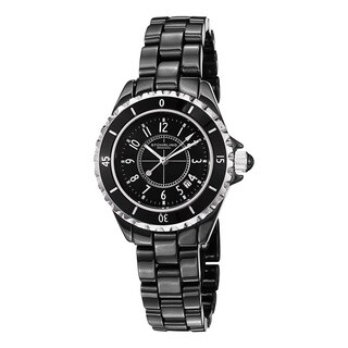 Stuhrling Original Women's Fusion Quartz Black Ceramic Bracelet Watch