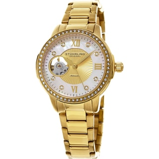 Stuhrling Original Women's Perle Automatic Open Heart Crystal Gold Tone Bracelet Watch