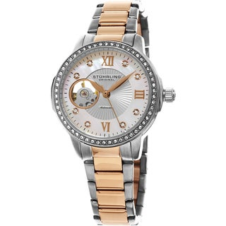 Stuhrling Original Women's Perle Automatic Open Heart Crystal Stainless Steel Two Tone Bracelet Watch