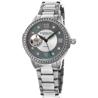 Stuhrling Original Women's Perle Automatic Open Heart Crystal Stainless Steel Bracelet Watch