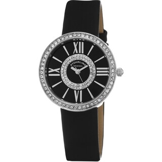 Stuhrling Original Women's Chic Quartz Crystal Black Satin Twill Covered Leather Strap Watch