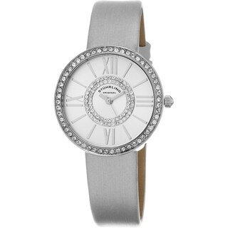 Stuhrling Original Women's Chic Quartz Crystal Silver Satin Twill Covered Leather Strap Watch