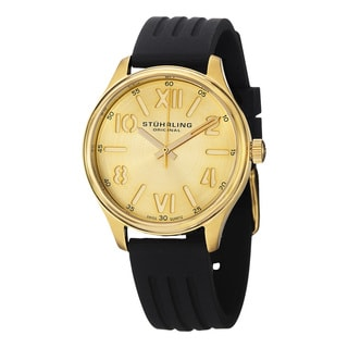 Stuhrling Original Women's Lady Variance Swiss Qaurtz Black Rubber Strap Watch