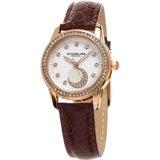 Stuhrling Original Women's Luna Quartz Crystal Red Leather Strap Watch