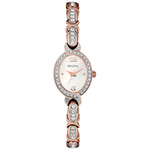 Bulova Crystal Accent Rose Gold-tone Stainless Steel Bracelet Ladies Watch