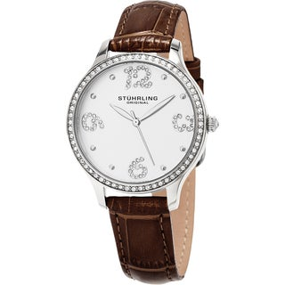 Stuhrling Original Women's Chic Quartz Crystal Brown Leather Strap Watch
