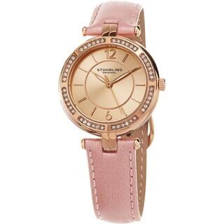 Stuhrling Original Women's Serena Quartz Cystal Pink Leather Strap Watch