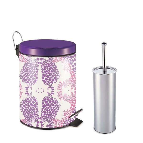 Designer Spring Floral Pattern Printed Step-on Trash Bin with Toilet Brush