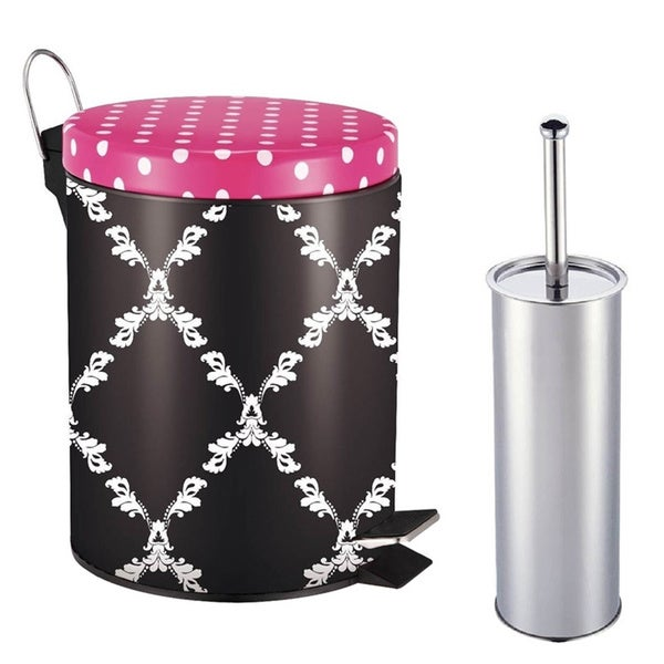 Designer Mystic Trellis Pattern Printed Step-on Trash Bin with Toilet Brush