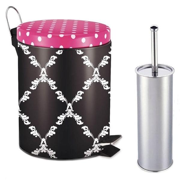 Designer Riviera Fuchsia Purple Pattern Printed Step-on Trash Bin with Toilet Brush