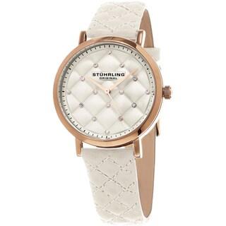 Stuhrling Original Women's Audrey Quartz Crystal Tufted Design White Leather Strap Watch
