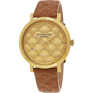 Stuhrling Original Women's Audrey Quartz Crystal Tufted Design Brown Leather Strap Watch