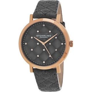 Stuhrling Original Women's Audrey Quartz Crystal Tufted Design Grey Leather Strap Watch
