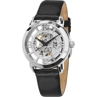 Stuhrling Original Women's Lady Winchester Automatic Skeleton Black Leather Strap Watch