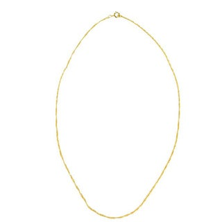 Pori Genuine 14k Yellow Gold Overlay Singapore Chain Necklace