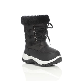Unsensored Kid's Faux Fur Trim Lace Up Snow Boot