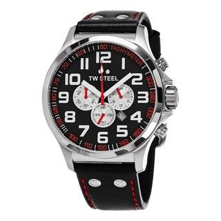 TW Steel Men's TW415 'Pilot' Black Dial Black Leather Strap Chronograph Quartz Large Watch